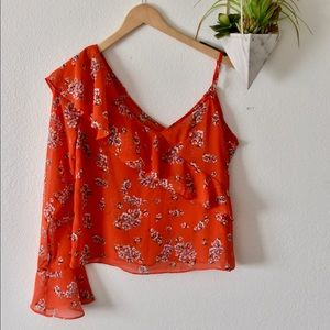One Shoulder Floral Ruffle Blouse